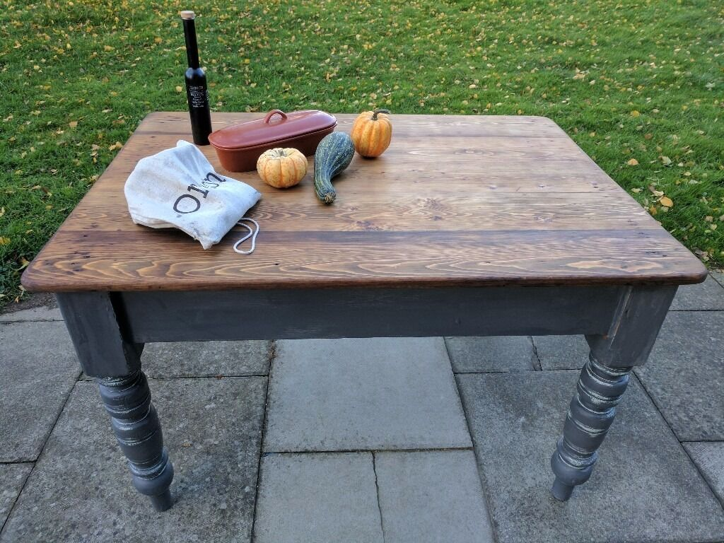 Vintage wooden farmhouse kitchen/dining table. Rustic/shabby chic/slate grey. Local delivery.