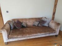 Chesterfield style velvet 4 seater sofa