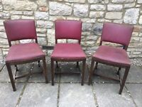 3 X EDWARDIAN? SOLID OAK? ANTIQUE HALL DINING BAR PUB CHAIRS shabby chic project