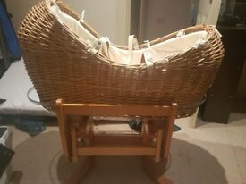 Mothercare moses basket with mattress and rocking stand