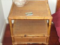 Rattan Chair and cushion and Rattan Table