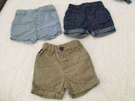 3 pairs next baby shorts