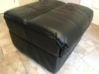 Black full luxury leather ~ footstool poufee / with storage