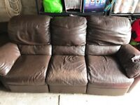 Brown leather, 2 x 3 seater reclining sofas, 1 x 2 seater reclining sofa, 1 x reclining chair
