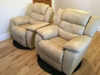 Pair if electric recliner chairs cream leather
