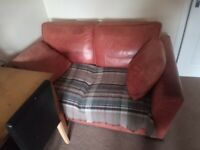 2 seater leather sofa well loved