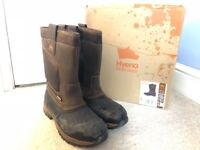 Mens Rigger Safety Boots - UK 11 Euro 45 - Steel Toe Cap - Brown