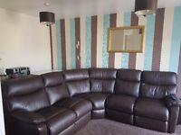 Large leather chocolate brown corner sofa