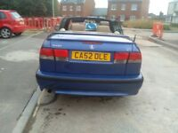 Saab 9-3 cosmic blue convertible 2ltr turbo