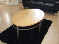 Contemporary Light Wood & Chrome Oval Coffee Table & Matching Round Lamp Table - designer look.