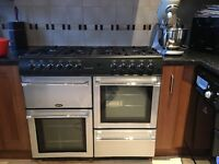 Silver/black Belling range country chef cooker. Good condition. Double oven, grill,8 gas burners.