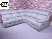 QUALITY EX DISPLAY 'MORENO' 3 PIECE CORNER GROUP WITH POWER RECLINERS IN MINK GREY FABRIC SETTEE