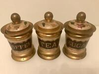 Antique Brass & Hand Painted Ceramic Coffee Tea & Sugar Canisters