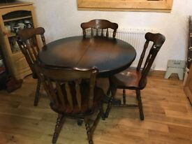 Solid Wood Table and Four Solid Wood Chairs