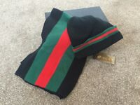 NEW GUCCI BEANIE HAT AND SCARF SET --- not prada armani versace givenchy ---