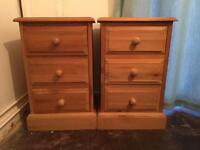 Two lovely solid wood bedside cabinets -dovetailed