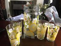 Lemonade pitcher with 4 tumblers