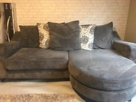 grey corn sofa, love chair and footstool with storage