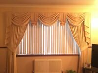 Swags, Tails and Curtains (fully lined). Cream/Gold + brand new swags/tails in contrast colour Inc