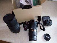 Nikon D3200 digital SLR + 18-55mm f3.5-5.6 G II lens + Sigma DG 70-300 zoom /macro lens