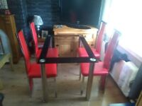 Lovely Glass Dining Table With Chrome Legs 4 Matching Chairs