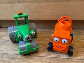 2 X BOB THE BUILDER TOY VEHICLES: DIZZY THE CEMENT MIXER & ROLEY THE ROAD ROLLER