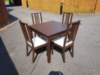 Ikea Brown Bjursta Extending Table 90-169cm & 4 Borje Chairs FREE DELIVERY 237