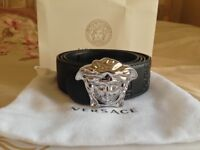 NEW Authentic VERSACE Silver buckled belt Mens