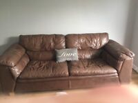 Two leather settees. One 3 seater one 2 seater