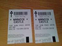 warwick castle x 2 tkts 13/09/2018