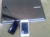 New Samsung RV150 wireless, win 7 laptop. Samsung Galaxy S2 and Nokia Xpressmusic Phone