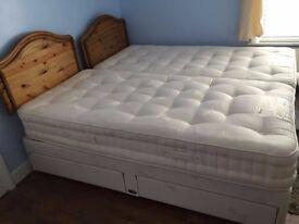 Luxury Reylon Pocket Sprung Single Bed - nearly new with headboard