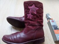 """CLARKS GIRLS LONG PURPLE SUEDE STARS LEATHER BOOTS """"DAISY ELF"""" SIZE 13 + MINI BODEN TIGHTS"""