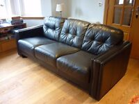 2 Sofas (3 seater, 2 seater) and Chair, Black Leather, Matching set, Good quality & condition