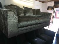 New ex display 3 seater crushed velvet sofa in champagne gold only £259
