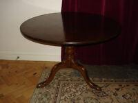 "Antique / Old Round Table (prob. Mahogany) 24"" High 33"" diam. NEEDS LEG REPAIR"