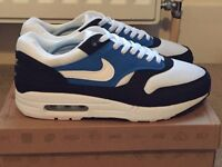 **Nike Air max 1 Trainers Blue Navy White UK8.5 Freepost**