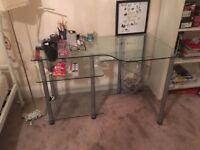 Nice glass desk with under shelfs