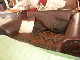 brown 2 seater leather sofa