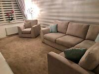 Stunning Corner Sofa & Chair - nearly brand new, perfect condition