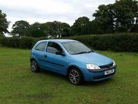 02 REG VAUXHALL CORSA 1.0 12V PETROL 3DR BLUE MOTED OUTSTANDING VERY CHEAP CAR @BARGAIN CARS L@@K