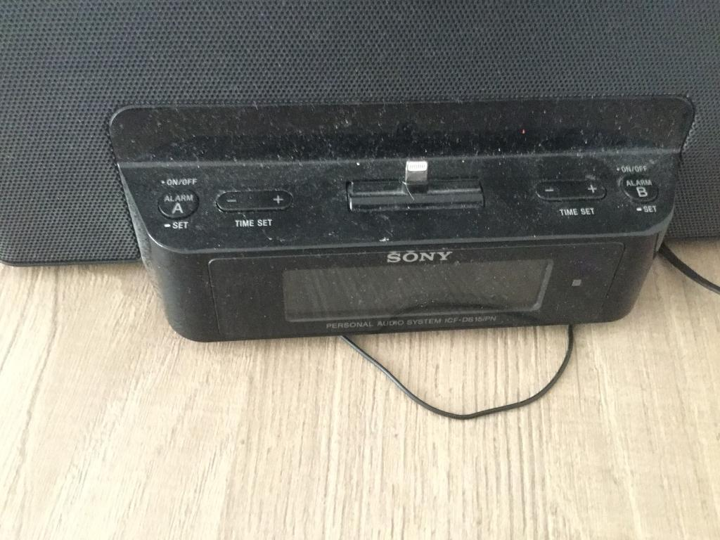 Sony stereo with clock radio and iPod/iPhone dock