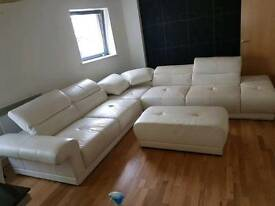 White leather sofa bed corner suite