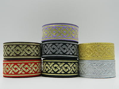 (10.9yds Jacquard Woven Ribbon/Trim Celtic Knot Various colours available)