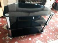 Black glass TV unit, 3 tier, exc cond