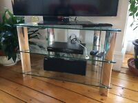 "John Lewis TV Stand for TVs up to 40"" Clear Glass collection from Hove"