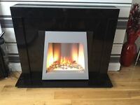 Black Marble Electric Fireplace with remote control