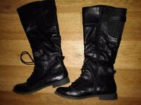 Ladies long black leather boots