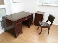 REPRODUCTION ANTIQUE Twin Pedestal Computer /Writing Desk