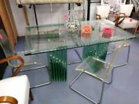 Italian design solid glass dining table with clear acrylic chairs